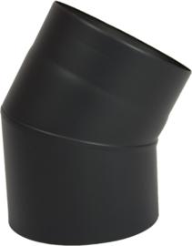 Enkelwandig Rookkanaal Ø150 mm, Bocht 30 graden , 0.6 mm staal Zwart antraciet