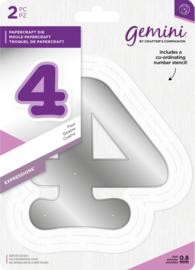 Gemini Expressions - Grote nummer snijmal & stencil set - 4