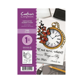 Crafter's Companion A6 unmounted rubberen stempel - Time Flies