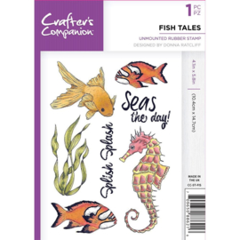 Crafter's Companion A6 unmounted rubberen stempel - Fish Tales