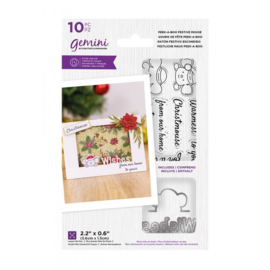Peek-A-Boo Clearstamp & Snijmal Kerst - Festive Mouse