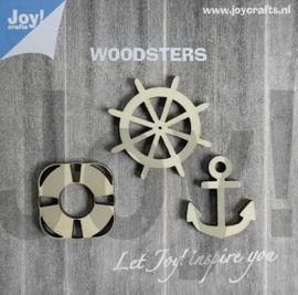 Woodsters - Figuren hout: anker - reddingsboei - stuurwiel