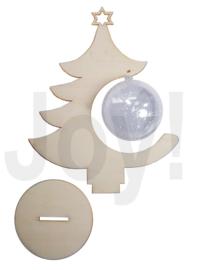 MDF kerstbal met transparante bal