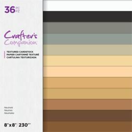 Crafter's Companion 8x8 (20x20 cm) Textured Cardstock - Neutrals