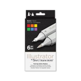 Spectrum Noir Illustrator 6 pennen set - Basis