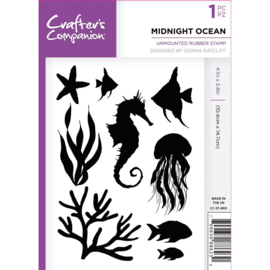 Crafter's Companion A6 unmounted rubberen stempel - Midnight Ocean