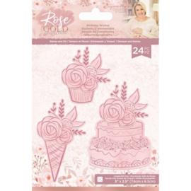 Rose Gold Clearstamp/snijmallen set - Birthday Wishes