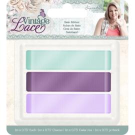 """Vintage Lace - Satijn lint 0.75"""" (3pk)"""