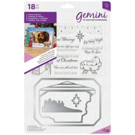 Gemini Photo Card Clearstamp & Snijmal - Christmas Blessings