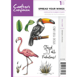 Crafter's Companion A6 unmounted rubberen stempel - Spread Your Wings