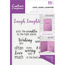 Crafter's Companion Sentiment & Verses Clearstamps - Love, Laugh, Laughter