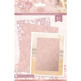 "Rose Gold 5""x7"" Embossing Folder - Rose Blooms"