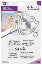 Gemini Shaker Card Clearstamp & Snijmal - Sweet Birthday