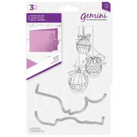 Gemini Clearstamp & snijmallen set - Baubles (Kerstballen)