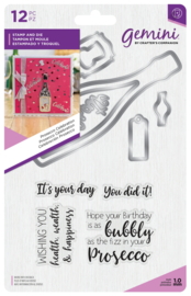 Gemini Shaker Card Clearstamp & Snijmal - Prosecco Celebration