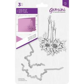 Gemini Clearstamp & snijmallen set - Christmas Candles (Kerst Kaarsen)