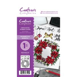 Crafter's Companion A6 unmounted rubberen stempel - Poinsettia Wreath
