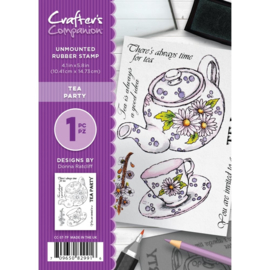 Crafter's Companion A6 unmounted rubberen stempel - Tea Party