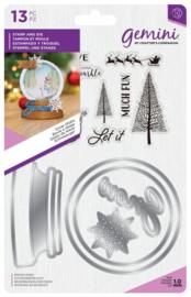 Gemini Kerst Shaker Card Clearstamp & Snijmal - Snow Globe