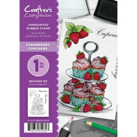 Crafter's Companion A6 unmounted rubberen stempel - Strawberry Cupcakes