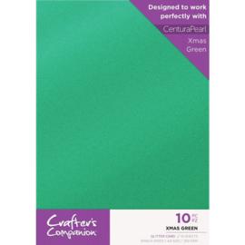 Crafter's Companion Glitter karton A4 a 10 vel - Kerst Groen