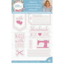 Sara Signature Collection Sew Homemade - Clear Acrylic stempelset - Homemade with Love