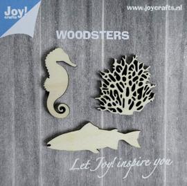 Woodsters- Houten figuren - Zeepaard/Koraal/Grotevis