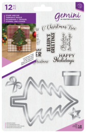 Gemini Kerst Shaker Card Clearstamp & Snijmal - Christmas Tree