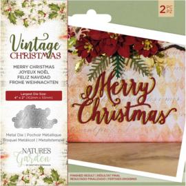 Vintage Christmas snijmal - Merry Christmas