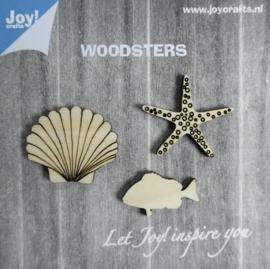 Woodsters- Houten figuren - Zeester/Schelp/Vis