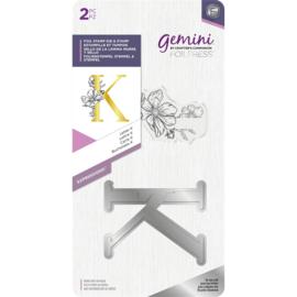Gemini Metalen folie stempel & Clearstamp - Expressions - Letter K