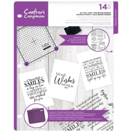 Crafter's Companion Sentiment & Verses Clearstamps - Get Well Soon