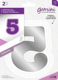 Gemini Expressions - Grote nummer snijmal & stencil set - 5