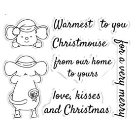 Peek-A-Boo Clearstamp & Snijmal Kerst - Festive Mouse