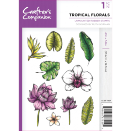 Crafter's Companion A6 unmounted rubberen stempel - Tropical Florals