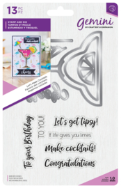Gemini Shaker Card Clearstamp & Snijmal - Let's Make Cocktails