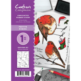 Crafter's Companion A6 unmounted rubberen stempel - Festive Robins