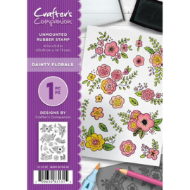 Crafter's Companion A6 unmounted rubberen stempel - Dainty Florals