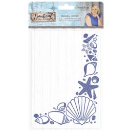 Sara Signature Collection Nautical - 5x7 Embossing folder - Seashell Corner