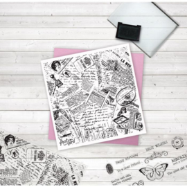 Crafter's Companion Grote Background Clearstamps - Newspaper Collage
