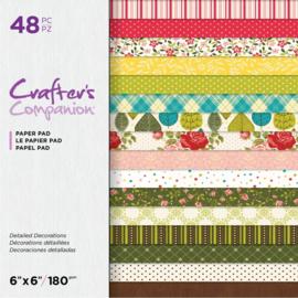 "Crafter's Companion 6""x6"" (15x15 cm) paperpad - Gedetailleerde decoraties"