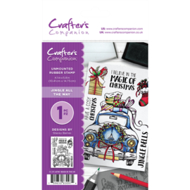Crafter's Companion A6 unmounted rubberen stempel - Jingle all the way