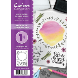 Crafter's Companion A6 unmounted rubberen stempel - Believe in your dreams
