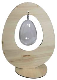 Houten staand ei met transparant ei