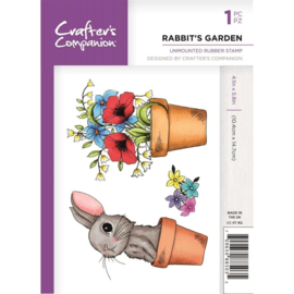 Crafter's Companion A6 unmounted rubberen stempel - Rabbit's Garden