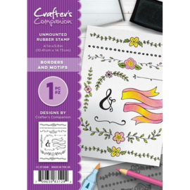 Crafter's Companion A6 unmounted rubberen stempel - Borders and Motifs