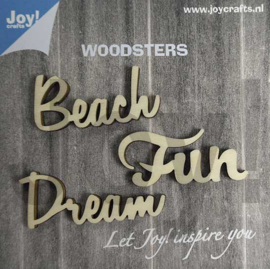 Woodsters - Woorden hout: Dream - Beach - Fun