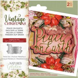 Vintage Christmas snijmal - Peace on Earth
