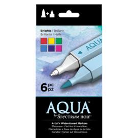 Spectrum Noir Aqua Markers 6 Pen Sets - Brights (Felle kleuren)