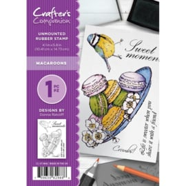 Crafter's Companion A6 unmounted rubberen stempel - Macaroons
